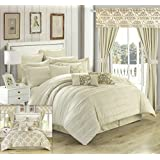 Chic Home 24 Piece Hailee Complete Pleated Ruffles and Reversible Printed Bed in a Bag Comforter Set with Window Treatment, Queen, Beige
