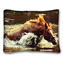 Custom Characteristic ( Animals frame moment super ) Custom Cotton & Polyester Soft Rectangle Pillow Case Cover 20x26 inches (One Side) suitable for California King-bed