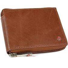 Alpine Swiss RFID Blocking Mens Leather Wallet Zip Around ID Card Window Bifold