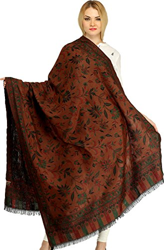 Exotic India Reversible Jamawar Shawl from Amritsar wit - Color Carob Brown