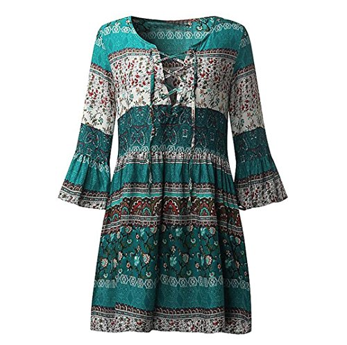 NEARTIME Dress Women, Women Floral Print Boho Ladies Evening Party Dress (XL, Green) ()