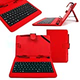 DURAGADGET Red Faux Leather Protective Case with Micro USB Keyboard & Built-in Stand for Kurio 7S 2013 Version/Kurio 7X 4G LTE - Includes Bonus Stylus Pen!