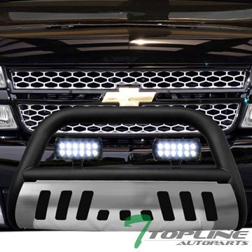Topline Autopart Matte Black HD Bull Bar Brush Push Front Bumper Grill Grille Guard w/ Chrome Skid Plate + 36W Cree LED Fog Light Lamp 99-07 Chevy Silverado Suburban GMC Sierra (06 Silverado Push Bar)