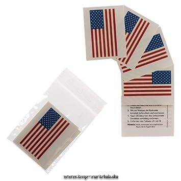 5 x Amerika Tattoo Fan Fahnen Set - America temporary tattoo Flag (5 ...