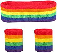 Unisex Sweatbands Moisture Wicking Terry Cloth for Basketball Football Tennis Running Sports(Rainbow 1 Headban