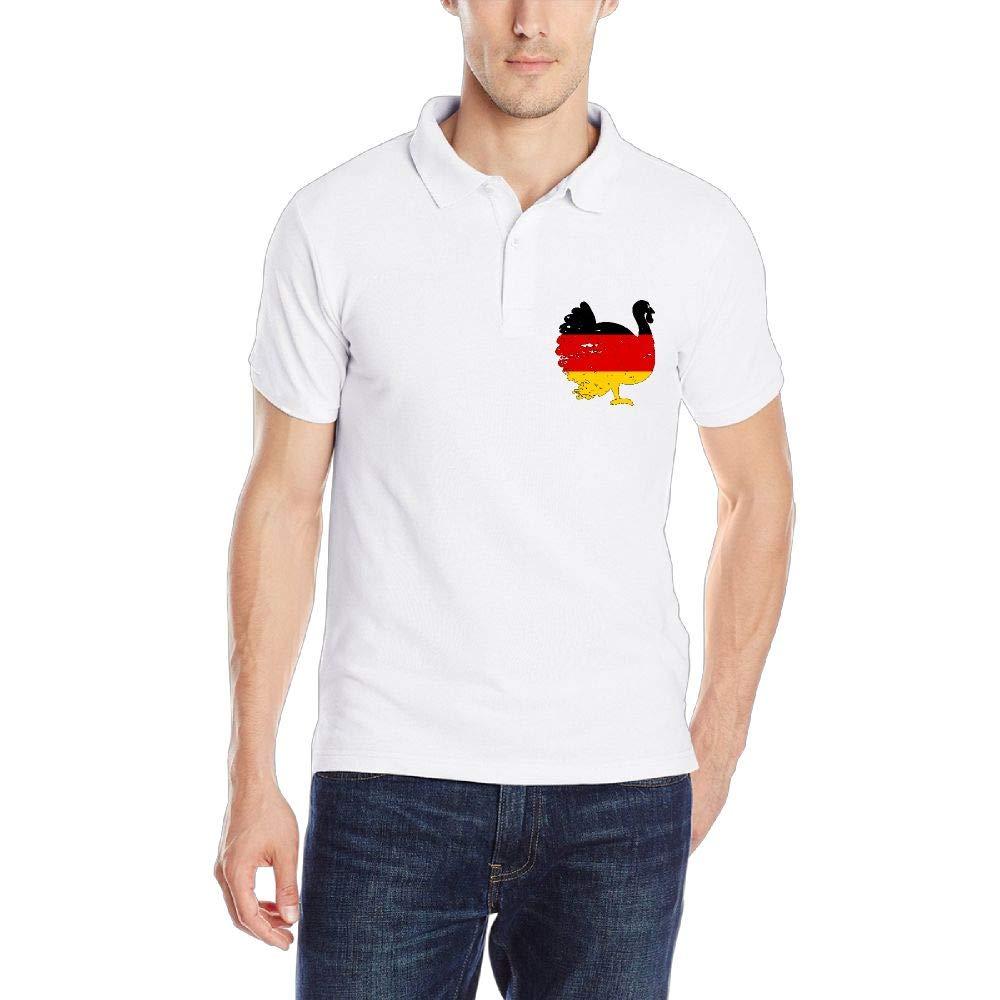 German Patriotic Turkey Thanksgiving Mens Short Sleeve Polo Shirt Classic-Fit Blouse Sportswear