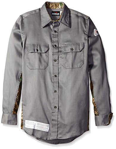 Bulwark Men's Big and Tall Camo Uniform Shirt, Grey 3X-Large