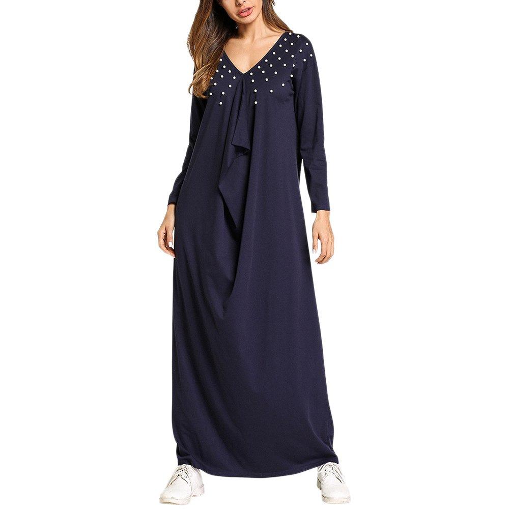 Zhuhaitf Kaftan Tunika Kimono Kleid Damen Abendkleid Maxikleid ...