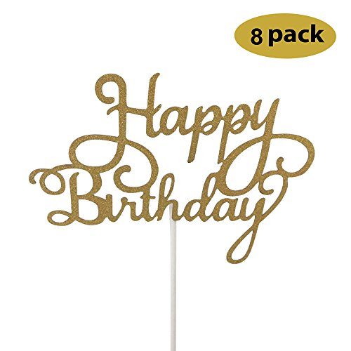 8 Pack Happy Birthday Cake Topper First Birthday Cupcake Top