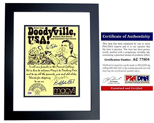 Buffalo Bob Smith and Clarabell the Clown Signed - Autographed Howdy Doody 8x10 inch Macy's Advertisement - Certificate of Authenticity (COA) - Deceased 1998 - BLACK CUSTOM FRAME - PSA/DNA - Macy's Tampa