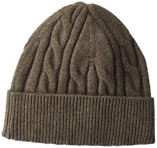 Amazon Essentials Men's Cable Knit Hat, Brown Heather, One Size