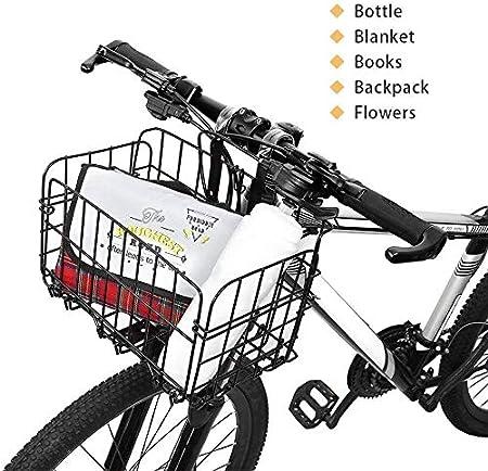 Plegable de la Cesta Posterior de la Bicicleta Malla de Alambre Plegable Desmontable Bolsa Delantera Colgante Trasero Cesta de Bolsa de Bicicleta Multifuncional Estante de Carga para Accesorios