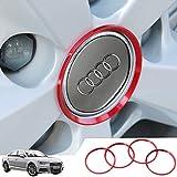 Audi 車のホイールハブカバートリムストリップ外観改造ハブキャップデコレーションサークルオートアクセサリー3Dステッカー 4個/セット レッド K001-30