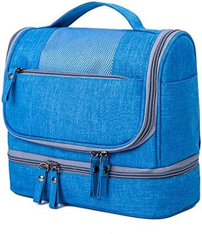 旅行化粧バッグ コスメティックバッグシンプルな女性の大容量トラベルトイレバッグラージポータブルストレージバッグコスメティックバッグ アクセサリー用コスメバッグ (色 : 青, Size : 25x13x21cm)