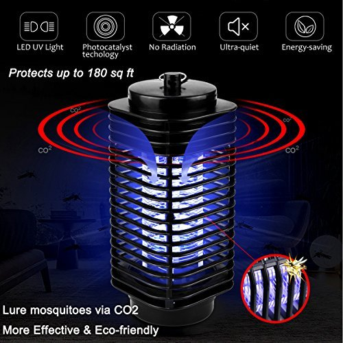 Electronic Mosquito Killer, Wrcibo Electronic Insect Killer Bug Zapper Trap Photocatalyst Fly Zapper UV light Trap Lamp for Standing or Hanging Indoor Outdoor