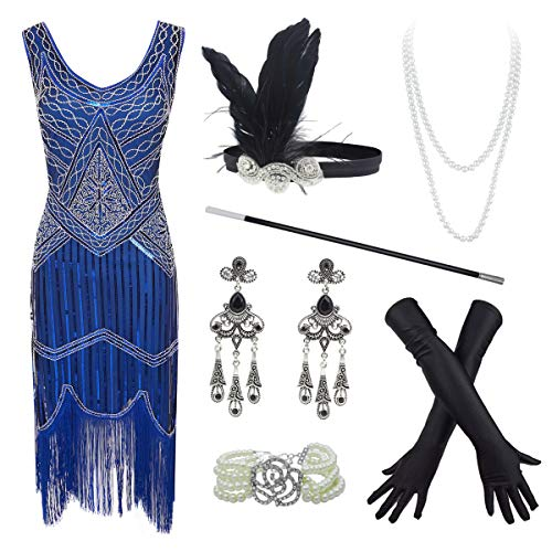 20s Flapper Gatsby Sequin Beaded Evening Cocktail Dress with Accessories Set (3X-Large, Blue) -