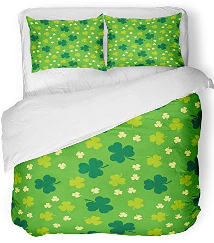 - Emvency 3 Piece Duvet Cover Set Breathable Brushed Microfiber Fabric Green Abstract Shamrock Clover Cut with Shadow St Patrick Beautiful Celebration Bedding Set with 2 Pillow Covers King Size