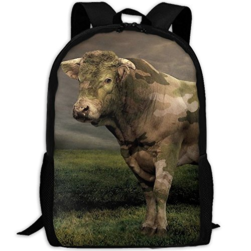 CY-STORE Cool Animal Hard-working Cattle Outdoor Shoulders Bag Fabric Backpack Multipurpose Daypacks For Adult by CY-STORE
