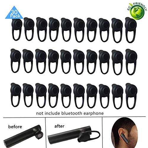 Lsgoodcare 30Pack Black Soft Silicone In-Ear Earphone Covers Earbud Bud Tips Earbuds Eartips Earplug Ear Pads Cushion Gel Cover for Wireless Earphone Headset Earpiece