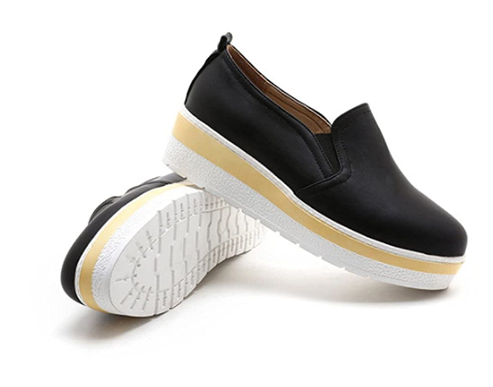 SFNLD Womens Casual Round Toe Slip On Platform Heighten Inside Sneakers Loafers