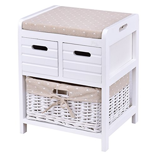 Giantex Wooden Storage Unit Bench Wicker Rattan Drawers Baskets Cushion Seat