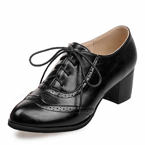 SJJH Leisure Shoes with Lace up and Pointed Toe and Large Size 0-13 UK for All Match Women Shoes Black 3PatBYSS