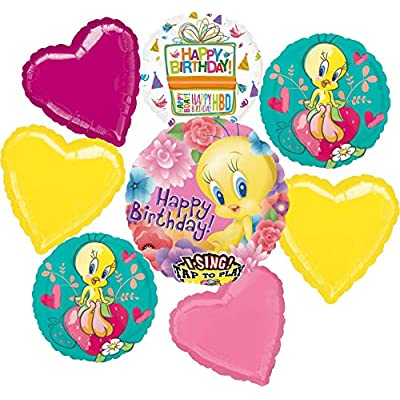 Tweety Bird Party Supplies Birthday Sing A Tune Balloon Bouquet Decorations: Toys & Games
