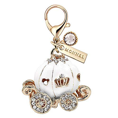 MC111 New White Princess Pumpkin Carriage Lobster Clasp Charm Pendant with Pouch Bag (1 Piece)