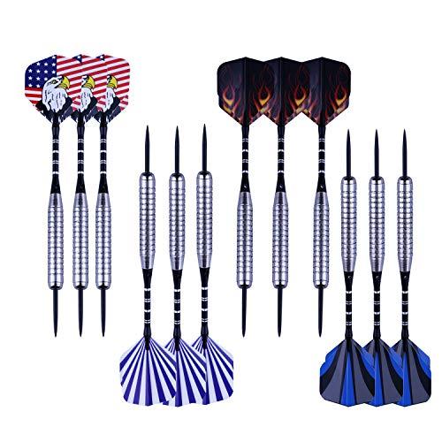 Lvgowyd 12 Packs Steel Tip Darts 22 Grams with 4 Style Flights, Aluminum Shafts, Nickel Silver Barrels and Dart Sharpener (B Style) ()