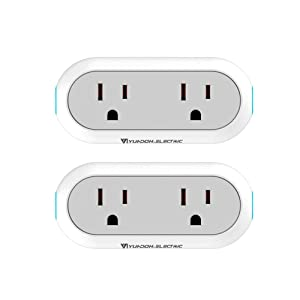Smart Wi-Fi Plug Dual Outlet Socket Energy Monitoring Timing Wireless Outlets Compatible with Alexa Echo and Google Home IFTTT APP Remote Control from Anywhere No Hub Required 2 Pack