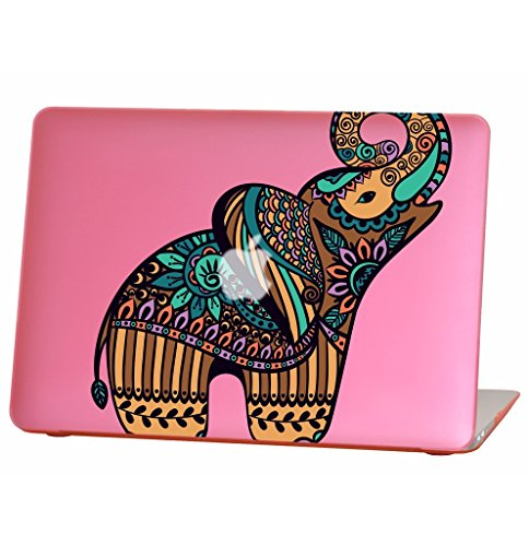 Rubberized Hard Case for 13 inch Macbook Air model number A1369 and A1466, colorful elephant design with the pink bottom case, Come with Keyboard Cover