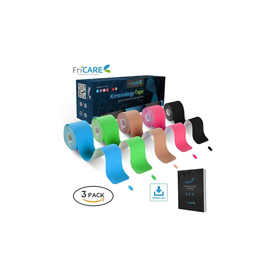 Uncut Pro Kinesiology Tape (Super Saver 3 Rolls Pack) by FriCARE, Waterproof Physio Therapeutic Sports Tape for Pain Relief, Muscle & Joint Support, Standard Size 2 Inch x 16 Feet