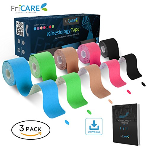 Uncut Pro Kinesiology Tape (Tremendous Saver 3 Rolls Pack) by FriCARE, Waterproof Physio Therapeutic Sports Tape for Pain Aid, Muscle & Joint Help, Standard Size 2 Inch x 16 Ft, Free Detailed K Tap – DiZiSports Store