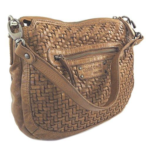 Bolso de cuero 'Gianni Conti'coñac trenzado - 28x23x10 cm.