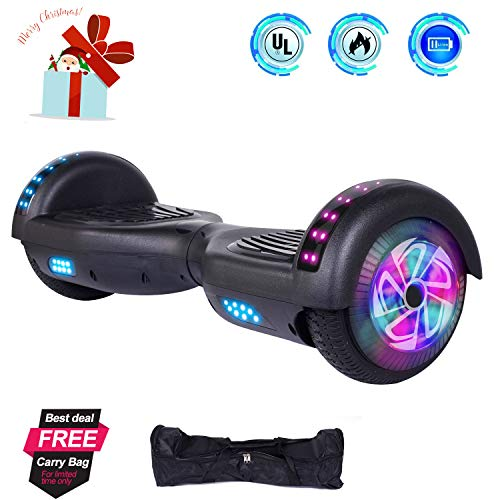 CBD Hoverboard Self Balancing Scooter Hover Board Electric Scooter with UL 2272 Certified,LED Frontlights,Colorful LED Side Lights,Free Carry Bag,6.5