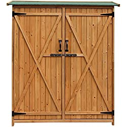 Merax Wood Shed Garden Storage Shed with Fir Wood (Natural wood color - Double door)