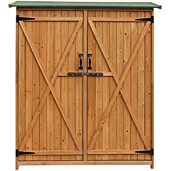 merax wood shed garden storage shed with fir wood natural wood color double door