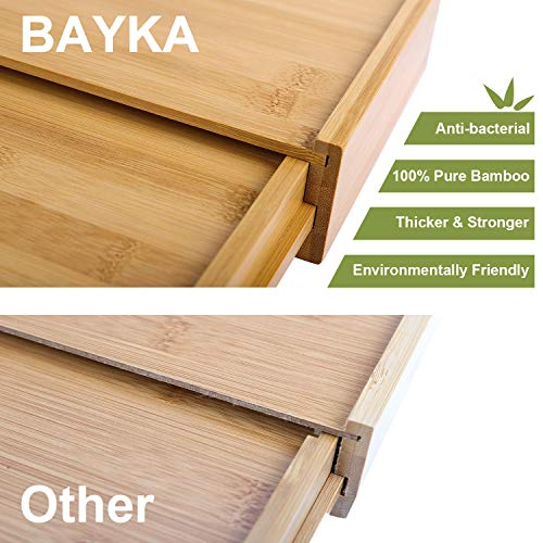 Kitchen Drawer Organizer, BAYKA Expandable Silverware Tray, 100% Pure Bamboo Drawer Dividers, Cutlery & Utensils & Flatware & Stationery Organizer with 4 Cushioning Pasters Fit Snugly into Any Drawer
