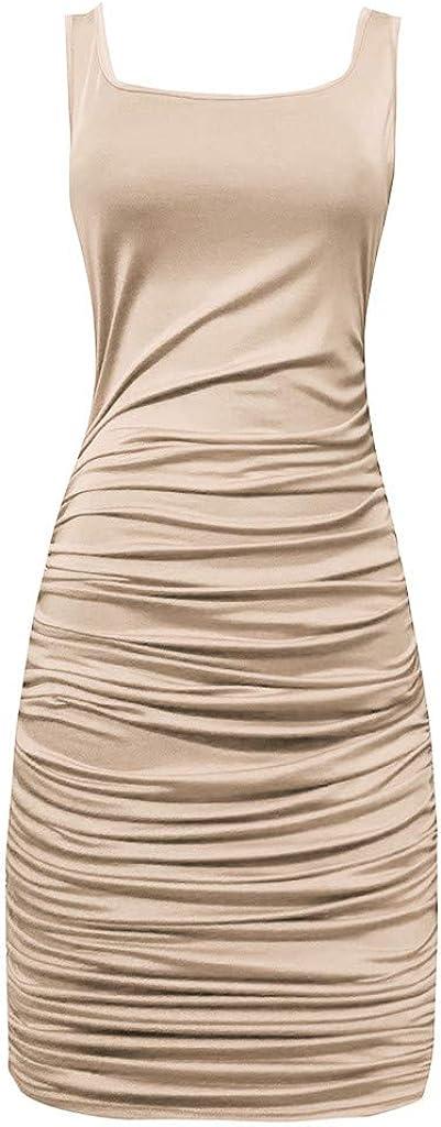 yoyorule Summer Dress Summer Women Fashion Casual Skinny Spaghetti Sleeveless Strap Halter Dress
