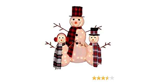 87cb485a1817d Amazon.com  Northlight Set of 3 Lighted Tinsel Snowman Family Christmas  Outdoor Decorations 35