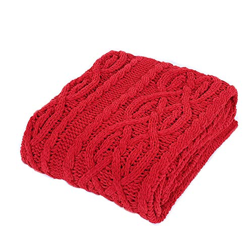 Battilo Cable Knit Chenille Blanket Soft Sofa Throws Bed Cover, 50