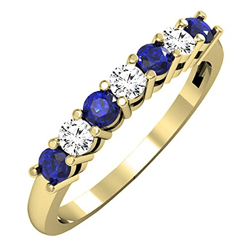 Dazzlingrock Collection 10K Round Blue Sapphire and White Diamond 7 Stone Bridal Wedding Band, Yellow Gold, Size 7.5 ()