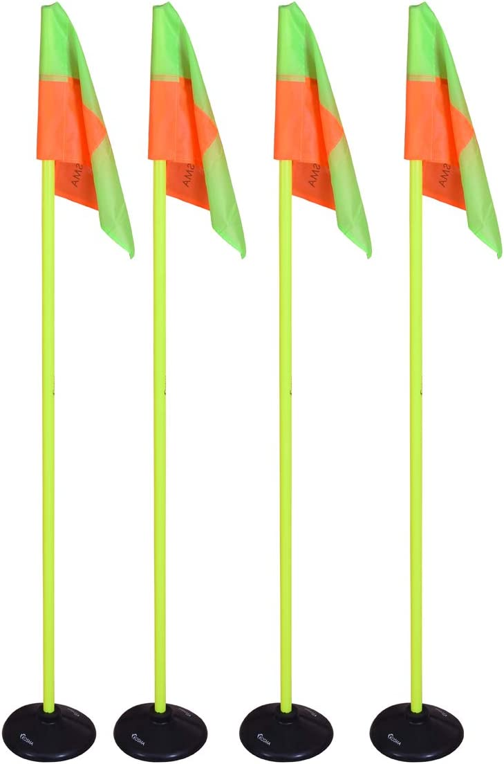Yellow Pole 150cm x 25mm with Rocket Spike /& Orange and Yellow Quadrant Pattern Flags and Heavy Duty Rubber Pole holder Kosma Pack of 4Pc Corner Flags In Cary bag