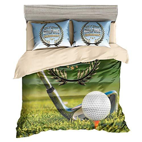 Beddingwish 3D Microfiber Golf Sports Bedding Set Men Boys Teens Kids (No Comforter) Sets Twin,Ball Sports Bed Set(1 Duvet Cover + 2 Pillowshams,3Pcs) -Twin Size]()
