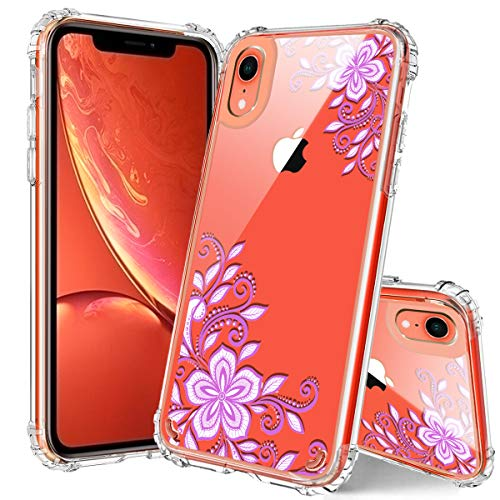 (iPhone XR Case, Hocase Drop Protection Shock Resistant Clear Hard Back+Reinforced TPU Rubber Corners Slim Fit Hybrid Protective Case Cover for iPhone XR 6.1-inch 2018 - Light Purple White Flowers)