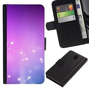 KingStore / Leather Etui en cuir / Samsung Galaxy Note 3 III / Purple Pink Bubbles Blanca