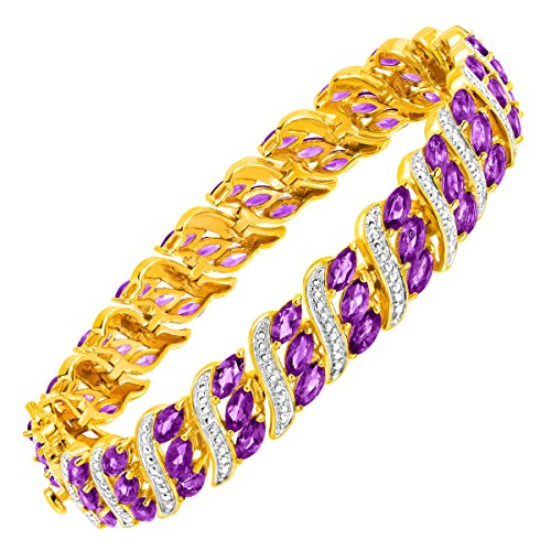 Natural Amethyst TennisBracelet with Diamond Accents, 18K Gold Flashed & Silver-Plated Brass by Finecraft
