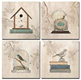 Retro Birds Canvas Prints Wall Art Pictures Abstract Animals Paintings Artworks for Living Room Bedroom Office Decoration, 12x12 inch, 4 pieces, Framed