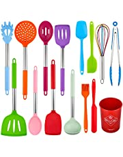Fohil Kitchen Utensil Set 15pcs Silicone Cooking Kitchen Utensils Set with Stainless Steel Handle Baking Tools Turner Tongs Spatula Spoon Heat Resistant Cooking Kitchen Gadgets Tools