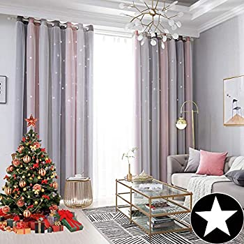 ARTBECK Kids Star Blackout Curtains Lace Sheer Curtains Hollow-Out Stars Curtains Double Layer Window Blackout Drapes for Kid's Bedroom, Living Room (Stripe Pink, 1 Pc | 52W x 84L)